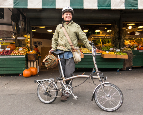 It's a Brompton folding British bicycle, and it's pretty much the best there is.