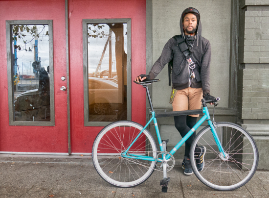 Everett works as a bicycle courier for Jimmy John's in Seattle.