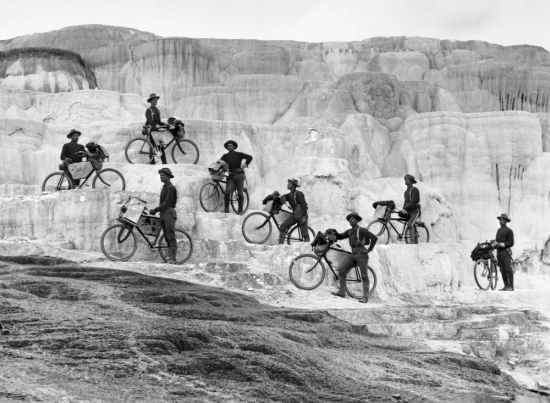 Bicycle Corps at Minerva Terrace, Yellowstone National Park, 1897.